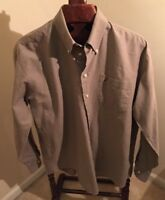 Nautica Vintage Oxford Olive Green Cotton Long Sleeve shirt 16 1/2  34/35