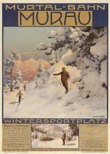 Vintage Ski Posters MURAU MURTAL-BANH, Swiss by Gustav Jahn, Travel Print