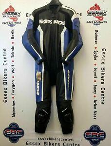 Spidi RR Wind Pro One Piece Motorcycle Race Leathers Black Blue UK 44 EU 54