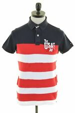 TOMMY HILFIGER Mens Polo Shirt Small Multi Striped Cotton Slim Fit  JF03