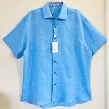 """Bertigo Lux Shirt Blue Linen 2XL 51""""=Chest 6 Button Down SS Contrast Collar NWT"""