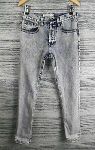 Topman 28 Blue Grey Vintage Button Skinny Jeans