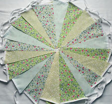 40ft/12m Green FLORAL BUNTING WEDDINGS vintage shabby chic handmade 2 x 20 green
