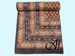 Indian Kantha Quilts Brown Color Bedsheet Ethnic Blanket Cotton Queen Size Throw