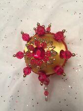 Ruby Red Scarlet Victorian Gem Stone & Beads Handmade Christmas Tree Ornament ~