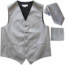 "New Men's Formal Vest Tuxedo Waistcoat_2.5"" slim necktie set wedding silver"