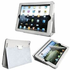iPad 3 White Exquisite Flip Leather Stand Case With Sleep/Wake-up Function Cover