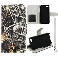 Sawgrass Camo  inside Gray  Wallet S Leather Flip Apple Iphone SE  Case Cover