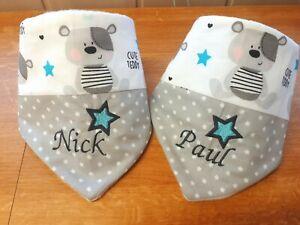 Halstuch mit Namen Cute Teddy grau Sterne Kuschelfleece Baumwolle Baby 1-4 Jahre