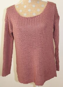 I JOAH Pink Loose Knit Sweater Top Long Sleeve Cotton Chunky Oversized SMALL NWT