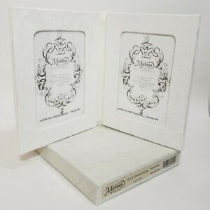 Marking 4x6 Hinged Double White Cloth & Lace Wedding Picture Frame Table Top NIB