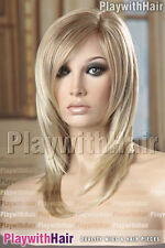 Top Salon Style! Mono Top Wig Natural Blonde Tips