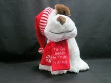 HIS SWEET TO TRUST IN JESUS CHRISTMAS WHITE BROWN PUPPY DOG PLUSH FIESTA TOY