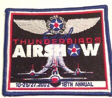 2002 Thunderbirds Airshow Patch 18th Annual - Nellis Air Force Base US Air Force