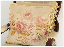 A Pair! SHABBY PINK CHIC Aubusson Cottage Pillow French Decorative Cushion WOOL