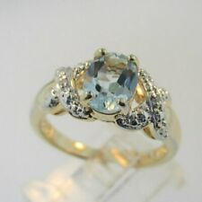 Cut Ring Size 8 Sterling Silver Vermeil Aquamarine Oval