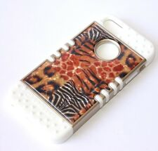 For iPhone SE 5S HARD & SOFT RUBBER HYBRID ARMOR CASE GOLD LEOPARD ZEBRA SKIN