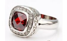 High Quality Romantic Red Crystal Platinum Plated Square Ring