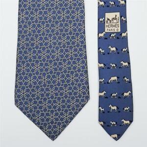 HERMES TIE 5096 PA Wire Horse & Horse Wheel on Blue Classic Twilly Silk Necktie
