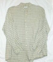J. Crew Linen Men's Long Sleeve Shirt XL Sage Green & White Plaid