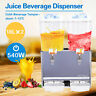 Commercial 2-Tank Juice Beverage Dispenser Machine Cold/Hot Drink Fruit Ice Tea