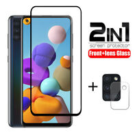 For Samsung Glalaxy A21S A51 A71 Screen Cover Tempered Glass + Lens Protector