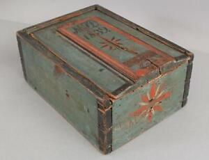 19thC Antique MJD Dated 1839 Folk Art Paint Painting Candle Box & Tin Patches