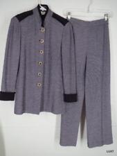 St John Pants Suit Sz 2 XS Knit Jacket Blazer Purple Ivory Tweed Enamel Buttons