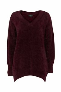 Jumper Sweater Wallis S  8/10 Burgundy Red Oversized Ultra Soft Fluffy Knit New