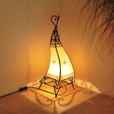 "Orientalische Hennalampe Marokko Lampe Lederlampe ""Canar"" Natur H58cm"