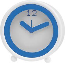 Wecker Uhr zum aufwachen 11 x 10,5 x 3,8 cm  blau weiß Alarm