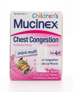Mucinex Children's Chest Congestion Bubble Gum Mini-Melts 12 Packets EXP 9/21