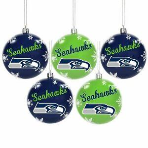 NFL Seattle Seahawks Shatterproof BALLS Christmas Tree Ornaments Set 5 pack
