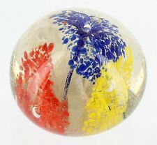 VINTAGE FLOWER BURST DROPLETS PAPERWEIGHT JAPAN RED BLUE YELLOW