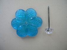 1 FLEUR CRISTAL  TOURQUOISE Fx1 diametre cm 5 avec  CLOUS pour REPARER MIROIR