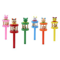 Lovely Wooden Cartoon Shape Hand Bell Baby Educational Musical Toy Color Random