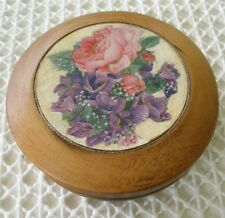 """Adorable French Decoupage Wooden Box with Pink Roses & Violets 4"""" Diameter"""