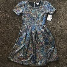 LuLaRoe Elegant Collection Amelia Dress Small Pocket Mermaid Foil Unicorn NWT