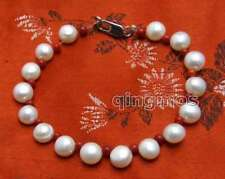 Sale 7-8mm White Flat Round side drilled pearl & Red Coral 7.5'' Bracelet-bra403