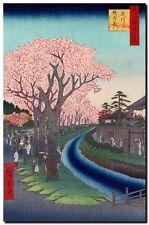 "Vintage Japanese Art CANVAS PRINT Hiroshige Cherry Blossums River Tama 24""X16"""