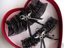 Wedding Garters Set Black / White - POLICE HANDCUFFS