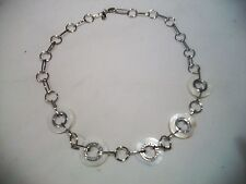NOLAN MILLER Signed Necklace Fun Funky White Discs Silvertone Links & Crystals