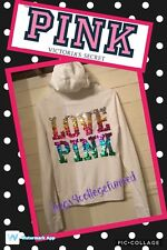 RARE Victoria's Secret VS PINK Rainbow Bling Hoodie Hooded Sweatshirt Full Zip M