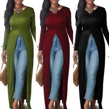 Women Casual Slim Long Sleeve Open Front Split Maxi Dress Long Shirt Tops Hot!