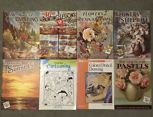 Lot of 8 Vintage Walter Foster Art Instruction Manuals Books Oil Flowers Pastel