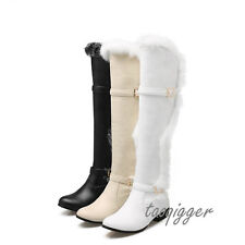 Women's Winter Fur Lining Snow Boots Low Heel Warm Knee High Boots Knight Shoes