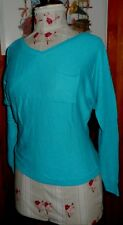Joli pull fin ETAM S 38 manches chauve souris bleu turquoise