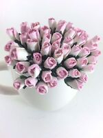 25 Mini Pink White Roses Bud Mulberry Paper Flowers Wedding Card Scrapbook Dolls