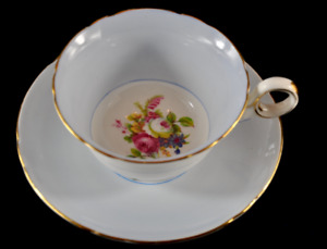 """Duck Egg Blue Shelley 'Hulmes Rose"""" Tea Cup & Saucer in the Chester shape"""