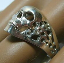 Vintage Sterling Silver 950 Skull Terrible Ring